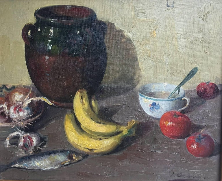 Fruits - original Still-life acrylic Painting   Asensio Mariné (Barcelona, 1890-1961) was a painter who specialized in landscapes, figures and still lifes of marked realism, that carried out a handful of personal and collective exhibitions in