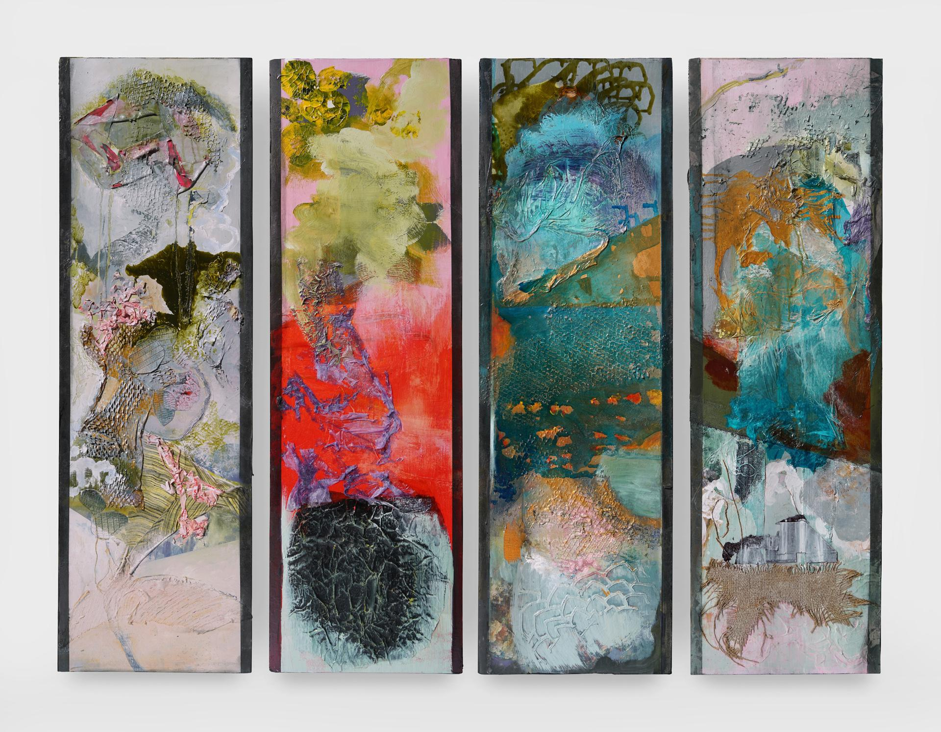 The Four Seasons, mixed media ,Abstract Expressionism, Four Panels 48x15x2 each