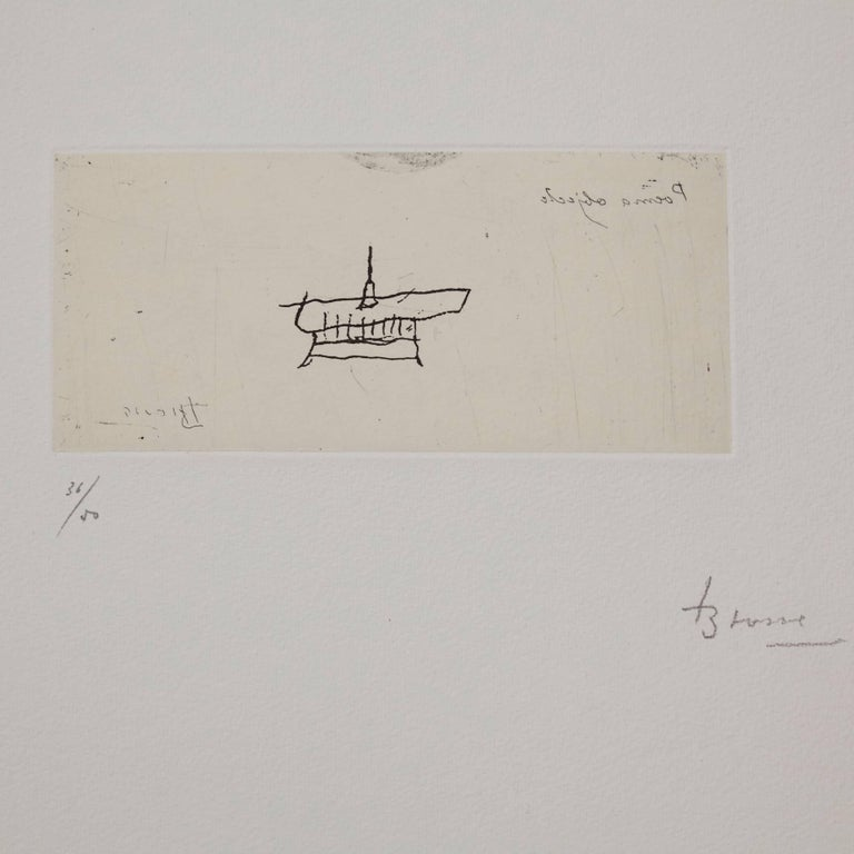 Lithography made by Joan Brossa, circa 1970.  Limited edition of 50 copies. Numbered (36/50) and hand-signed.  In original good condition.  Joan Brossa (1919-1998) was a Catalan poet, playwright, graphic designer and visual artist. He wrote