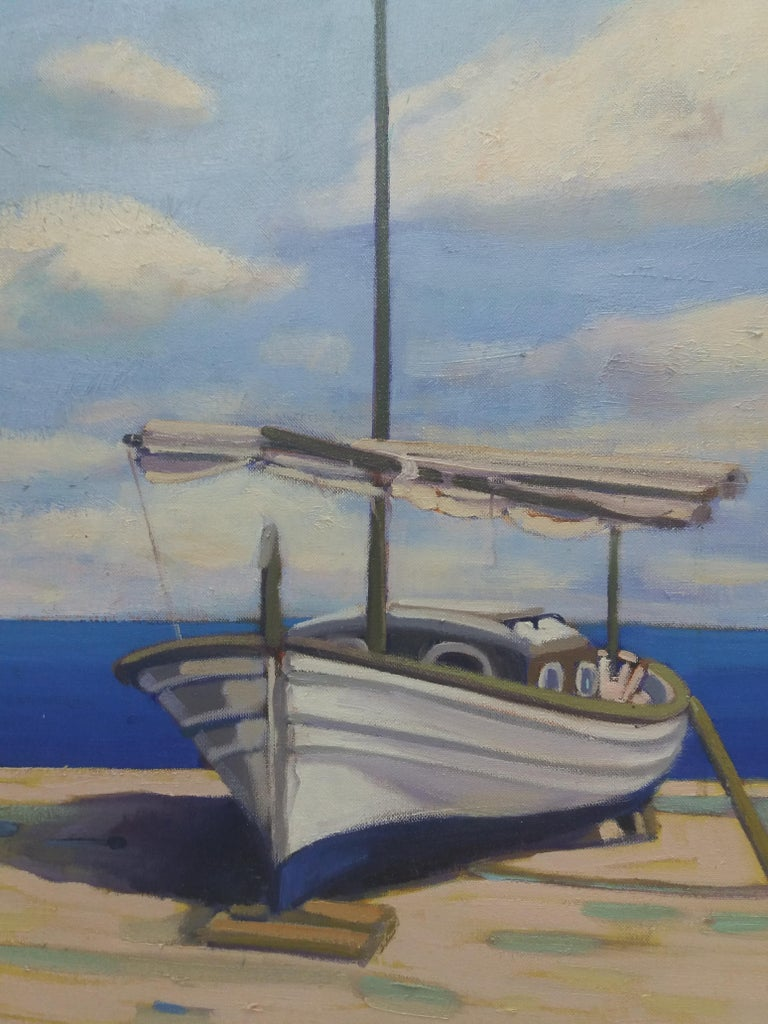 Barcas. original realist acrylic painting - Painting by Joan Copons