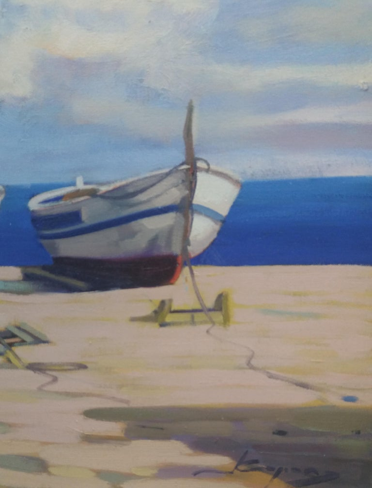 Barcas. original realist acrylic painting - Realist Painting by Joan Copons