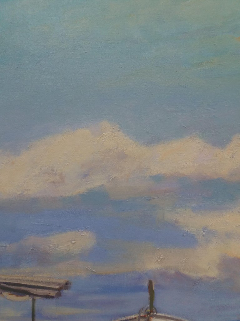 Barcas. original realist acrylic painting - Gray Landscape Painting by Joan Copons