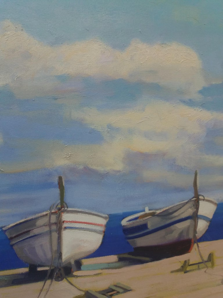 Barcas. original realist acrylic painting.. framed