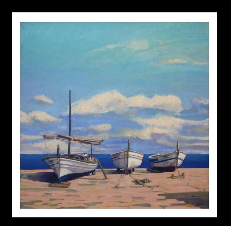 Joan Copons Landscape Painting - Barcas. original realist acrylic painting