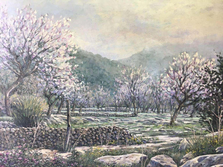LANDSCAPE OF MALLORCA original realist acrylic canvas painting - Painting by Joan Copons