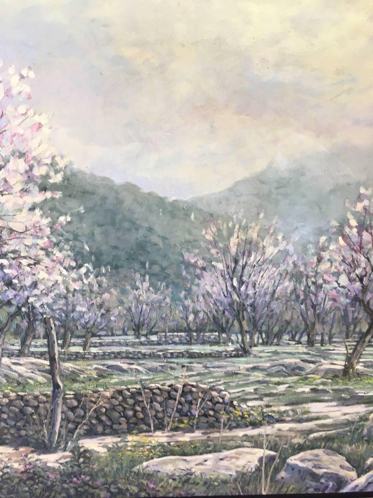 LANDSCAPE OF MALLORCA original realist acrylic canvas painting For Sale 1
