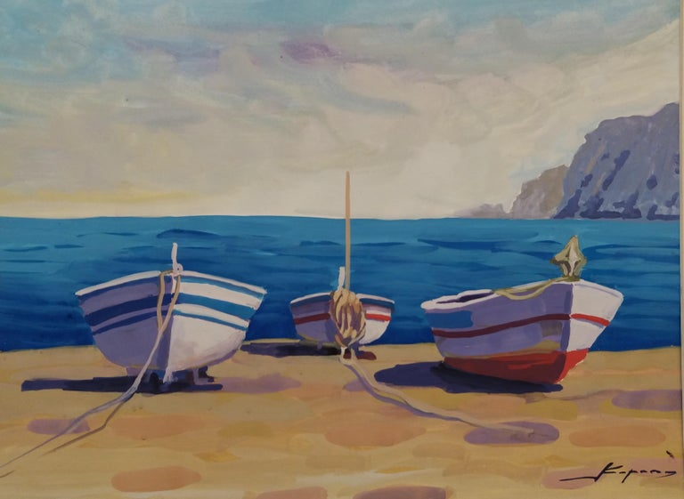 Marina original watercolor paper realist painting - Painting by Joan Copons