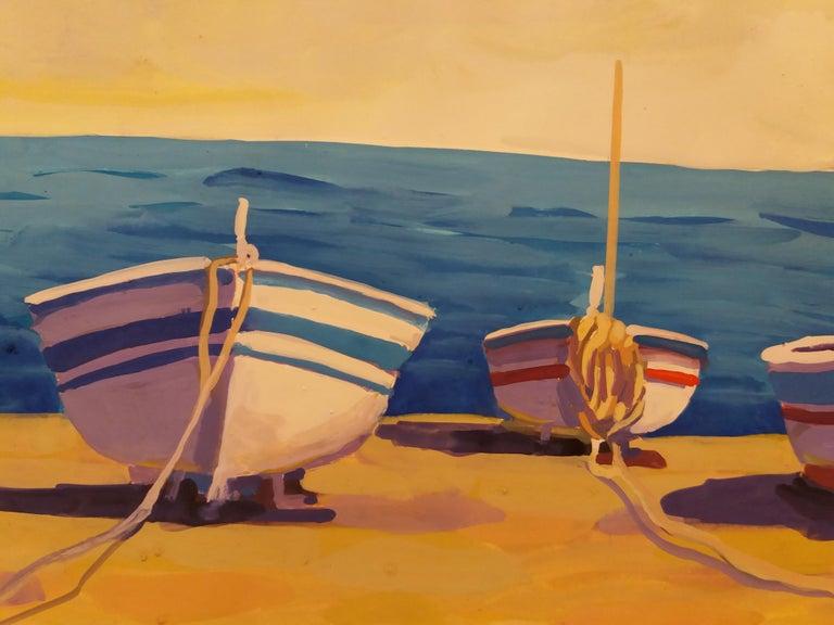 Marina original watercolor paper realist painting. frame