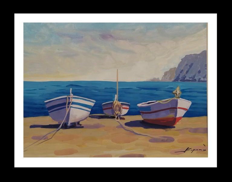 Joan Copons Landscape Painting - Marina original watercolor paper realist painting