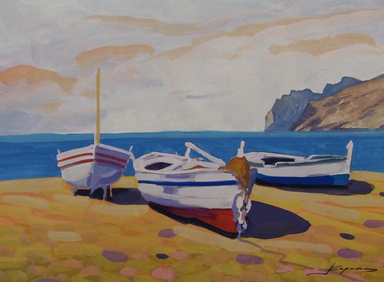 Marina original watercolor realist paper painting - Painting by Joan Copons