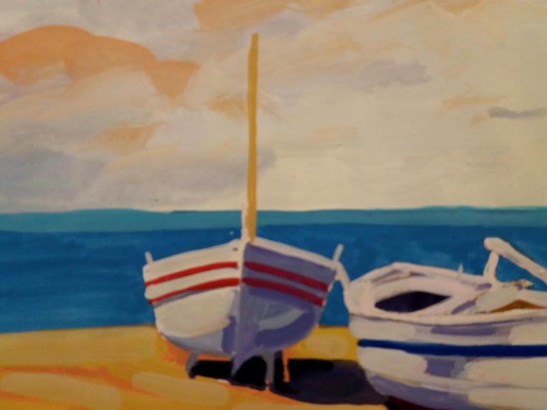 Marina original watercolor realist paper painting - Realist Painting by Joan Copons