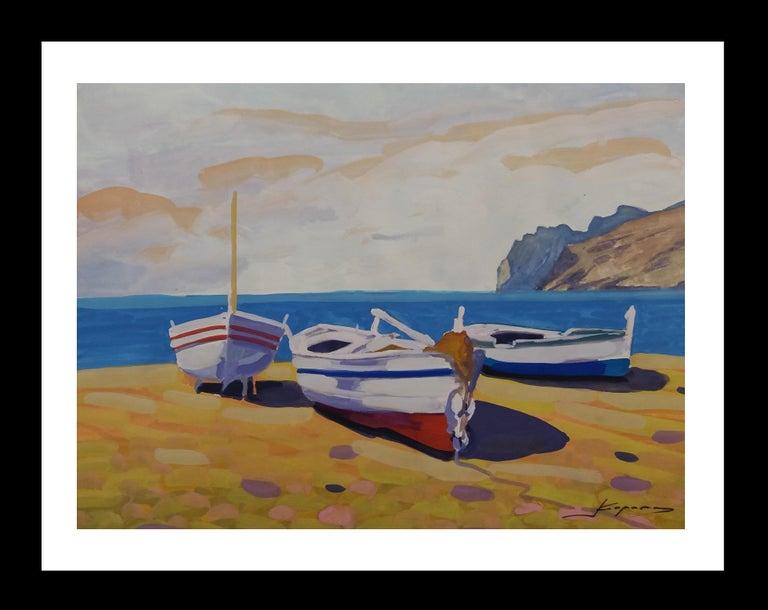 Joan Copons Landscape Painting - Marina original watercolor realist paper painting
