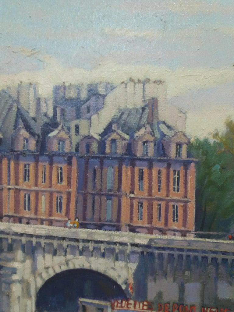 PARIS.RIVER. BRIDGE.SENA . Landscape original realist acrylic canvas painting For Sale 5