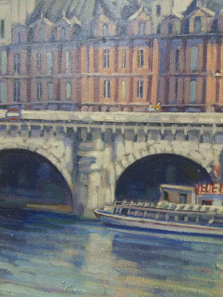 PARIS.RIVER. BRIDGE.SENA . Landscape original realist acrylic canvas painting For Sale 6