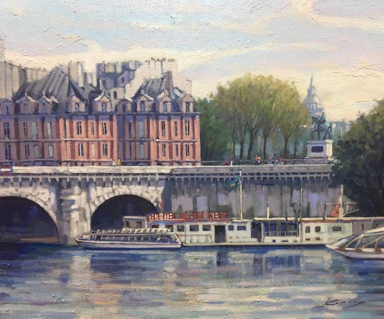 PARIS.RIVER. BRIDGE.SENA . Landscape original realist acrylic canvas painting - Painting by Joan Copons