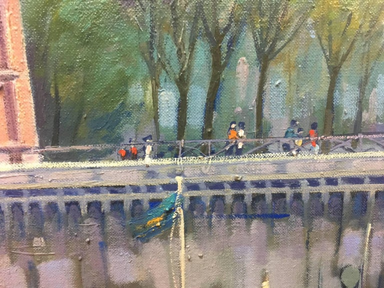 PARIS.RIVER. BRIDGE.SENA . Landscape original realist acrylic canvas painting - Black Figurative Painting by Joan Copons