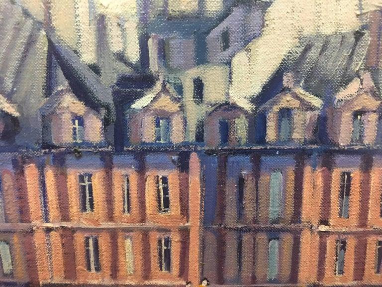 PARIS.RIVER. BRIDGE.SENA . Landscape original realist acrylic canvas painting For Sale 1