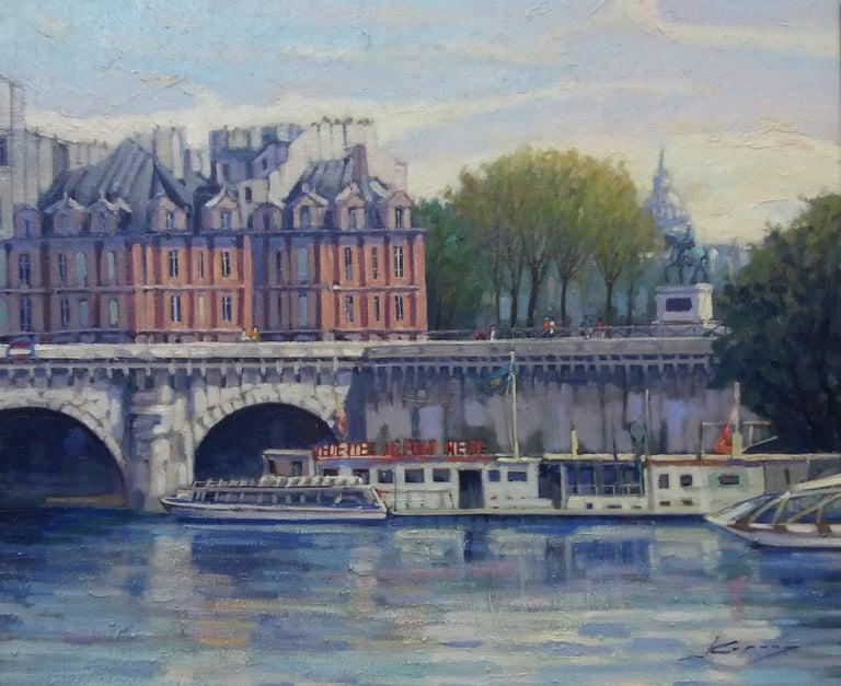 PARIS.RIVER. BRIDGE.SENA . Landscape original realist acrylic canvas painting For Sale 2