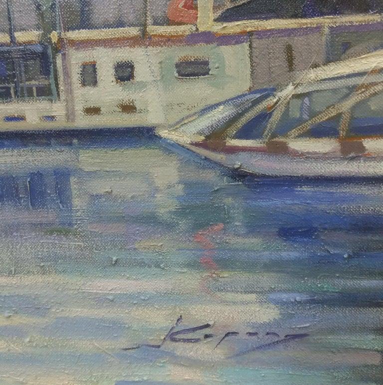 PARIS.RIVER. BRIDGE.SENA . Landscape original realist acrylic canvas painting For Sale 3