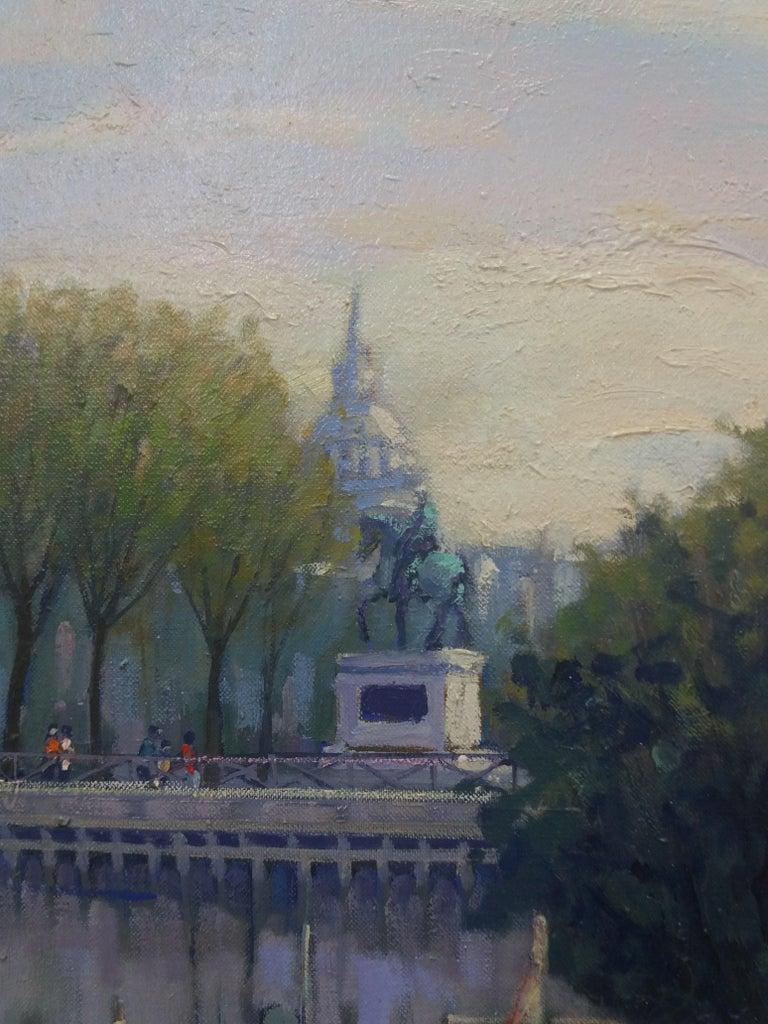PARIS.RIVER. BRIDGE.SENA . Landscape original realist acrylic canvas painting For Sale 4