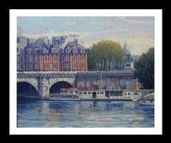 PARIS.RIVER. BRIDGE.SENA . Landscape original realist acrylic canvas painting