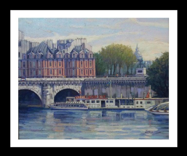 Joan Copons Figurative Painting - PARIS.RIVER. BRIDGE.SENA . Landscape original realist acrylic canvas painting
