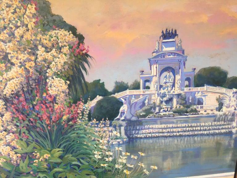 PARK CIUTADELLA.-Barcelona-jardin. original acrylic painting - Painting by Joan Copons