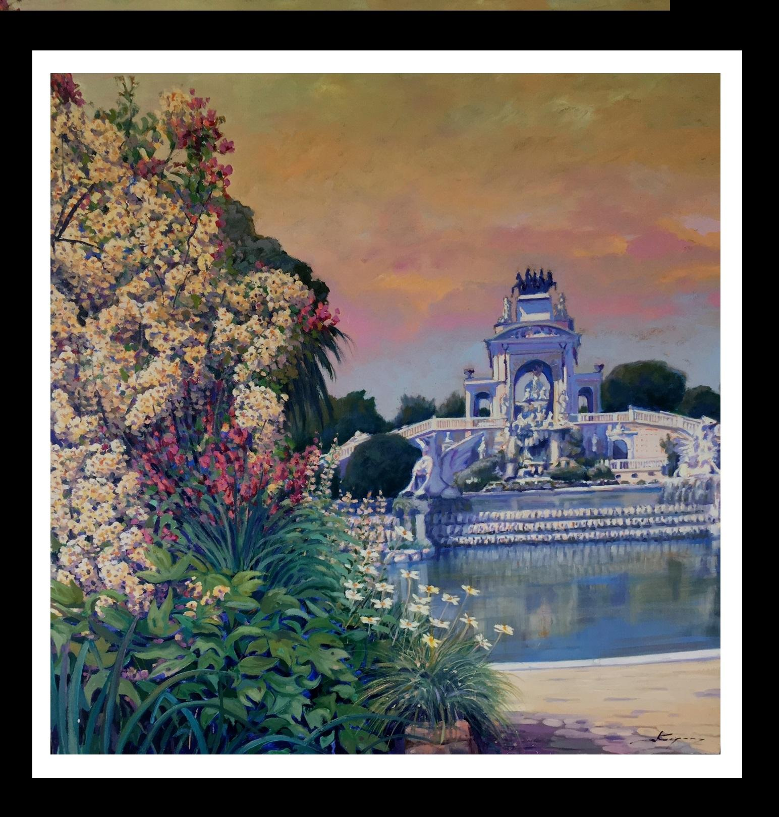 PARK CIUTADELLA.-Barcelona-jardin. original acrylic painting