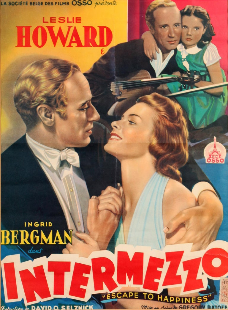 Joan Crawford and Ingrid Bergman Vintage Movie Posters, Queen Bee and Intermezzo In Good Condition For Sale In New York, NY