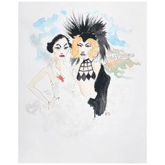 Joan Crawford as Bjork and Katherine Hepburn as Cher, Watercolor on Paper