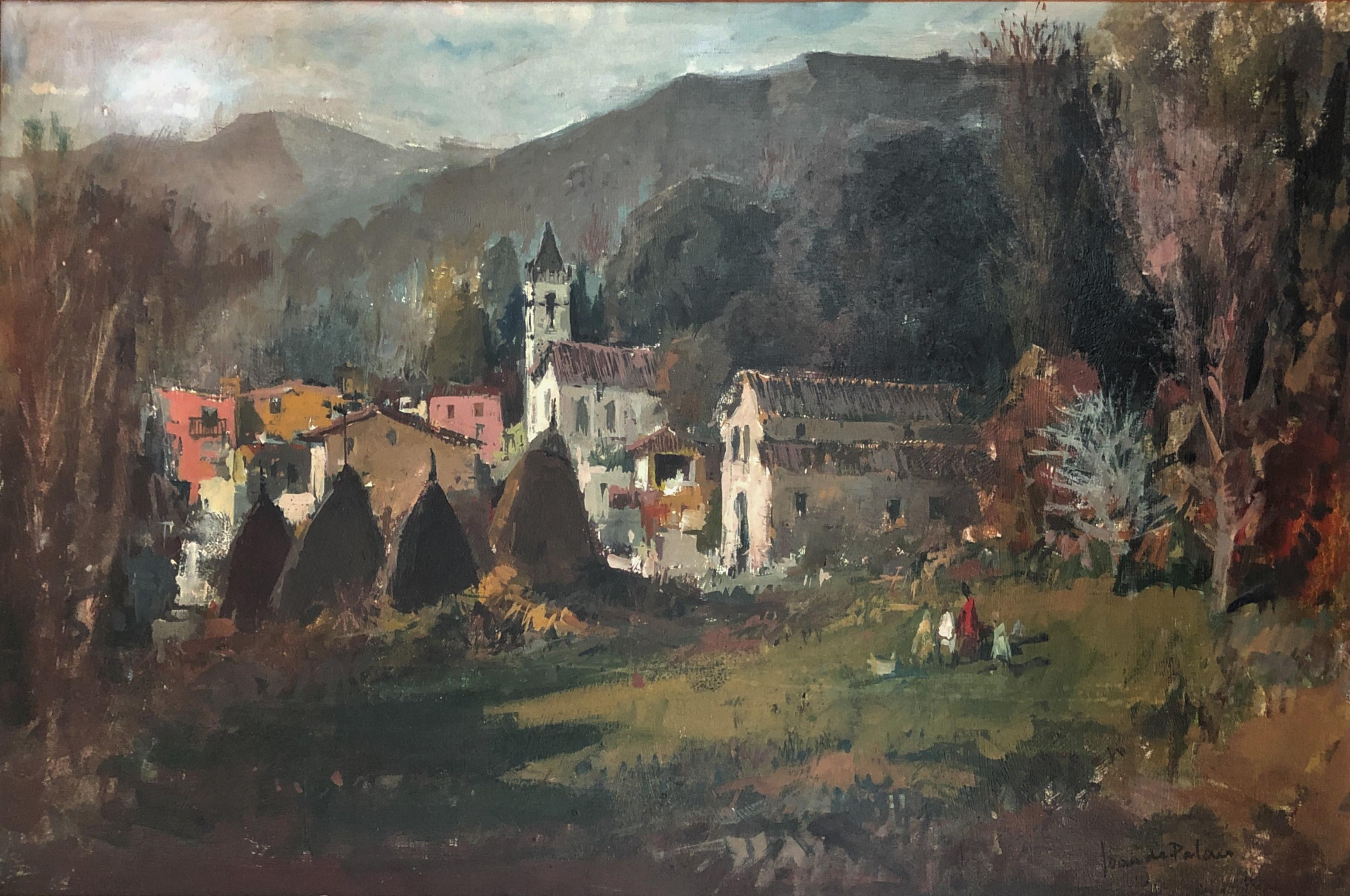 Spanish landscape oil on canvas painting framed