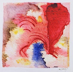 """""""Improvisation in Red,"""" mixed media watercolor & ink by Joan Dvorsky"""