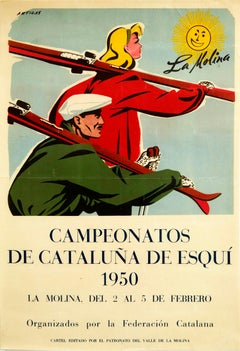Original Vintage Poster Catalan Ski Championships La Molina Winter Sport Spain