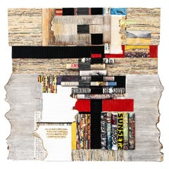"""A Life of Wonderment"" Abstract Paper Wall Relief Sculpture, Mixed Media Collage"