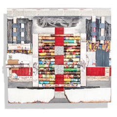 """Between the Lines"" Abstract, Paper Wall Relief Sculpture, Mixed Media Collage"