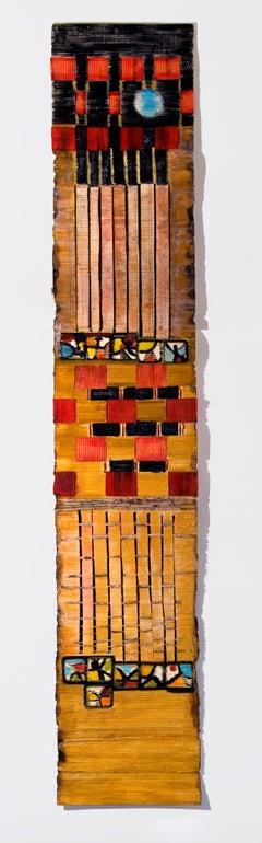 """Ode to Miro"" Handmade Paper, Mixed Media, Wall Relief Sculpture, Vertical"