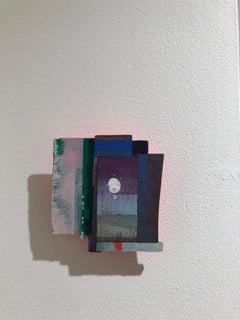 Joan Grubin, Detritus #38, abstract mixed media neon wall-sculpture, 2018