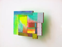Joan Grubin, Detritus #6, abstract neon wall-sculpture, 2015