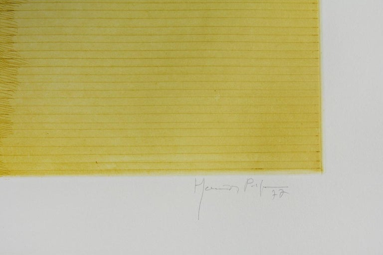 JOAN HERNANDEZ PIJUAN: Composition - Ething on paper, Spanish abstraction - Yellow Abstract Print by Joan Hernandez Pijuan