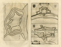 Antique map of Crevecoeur, Helmond and Ravenstein by Blaeu - Engraving - 17th c.