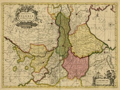 Antique map of Gelderland by Valk - Schenk - Handcoloured engraving - 17th c.