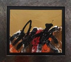 lunar landscape. ocher black red. original abstract acrylic painting