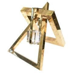 Joan Lehman Geometric Brass and Glass Block Suspended Cube Sculpture