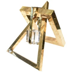 Joan Lehman Brass and Glass Suspended Cube Sculpture