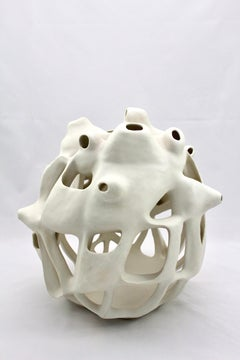 Untitled #2 - abstract geometric, organic white glazed porcelain sculpture