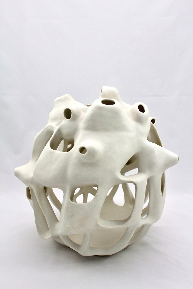 Joan Lurie Abstract Sculpture - Untitled #2 - abstract geometric, organic white glazed porcelain sculpture