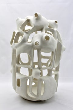 Untitled #5 - abstract geometric, organic white glazed porcelain sculpture