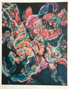 Coral 19:Coral Pink, Blue Green, Signed Lithograph, Nature Abstract Coral Reef