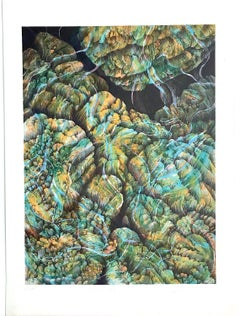 Coral 27 - Yellow, Original Lithograph, Nature Abstract, Coral Reef