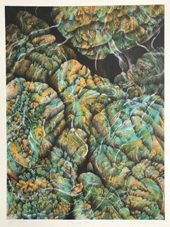 Coral 27:Aqua, Yellow, Signed Lithograph, Nature Abstract, Coral Reef, Water